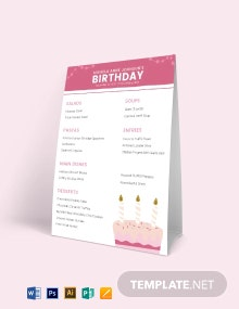 Birthday Table Tent Menu Template