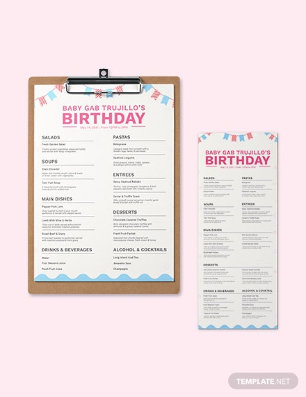 Blank Birthday Menu Template