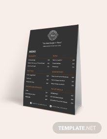 Burger Table Tent Menu Template