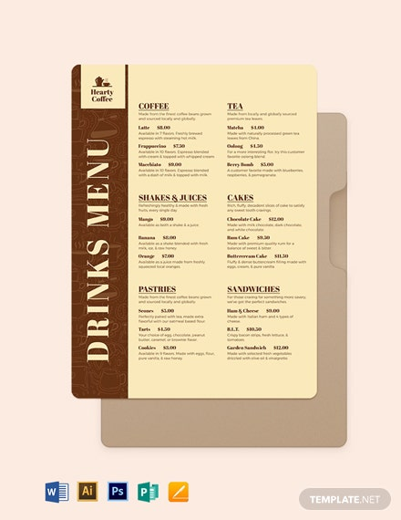 Cafe Coffee shop Flyer Menu Template