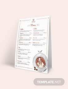 Cafe/ Coffee Shop Table Tent Menu Template