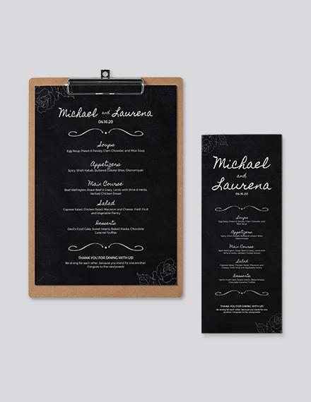 Chalkboard Wedding Menu Template