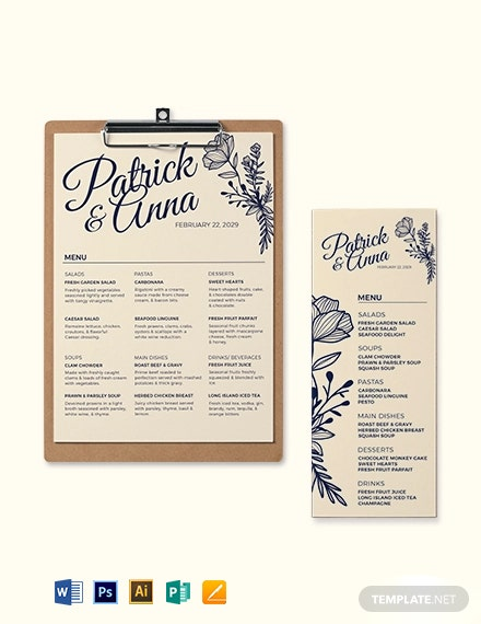 Christian Wedding Menu Template