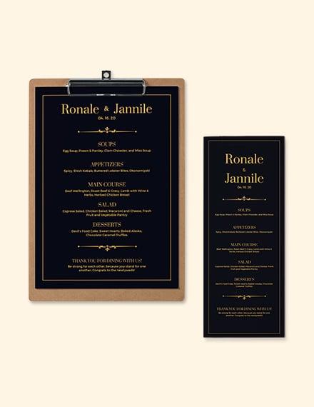 Classy- Classic Wedding Menu Template
