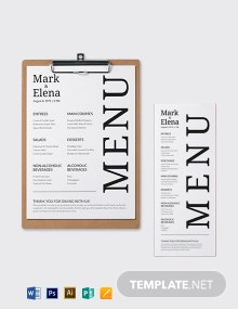 Custom Wedding Menu Template