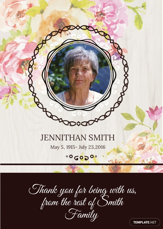 Floral Funeral Thank You Card Template.jpe