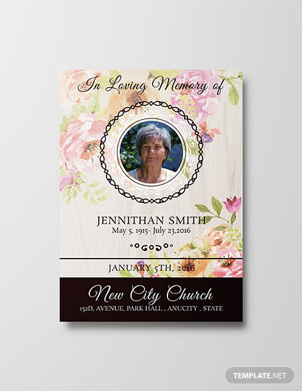Free Floral Funeral Thank You Card Template