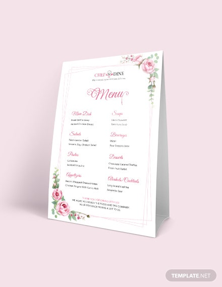 Dinner Table Tent Menu Template