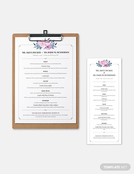 download downloadable wedding menu template