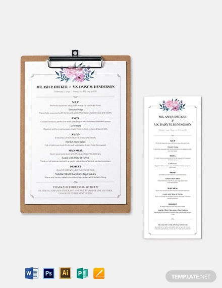 Downloadable Wedding Menu Template