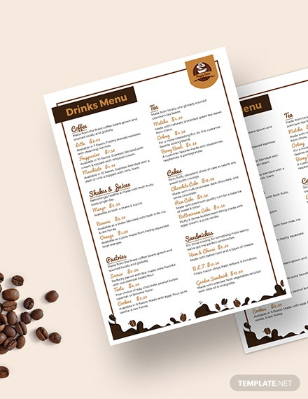 Downloadable Cafe Coffee shop Menu Download