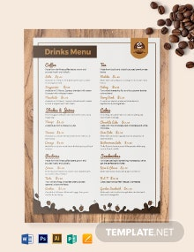 Downloadable Cafe-Coffee Shop Menu Template