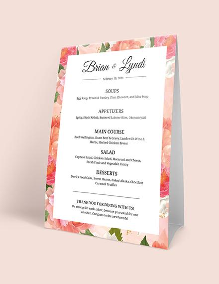Editable Wedding Menu Download