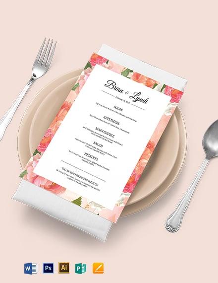 Editable Wedding Menu Template