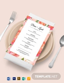 Editable Wedding Menu Template