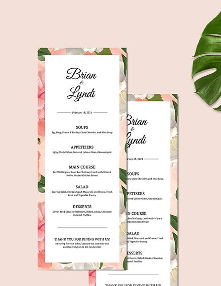 Sample Editable Wedding Menu