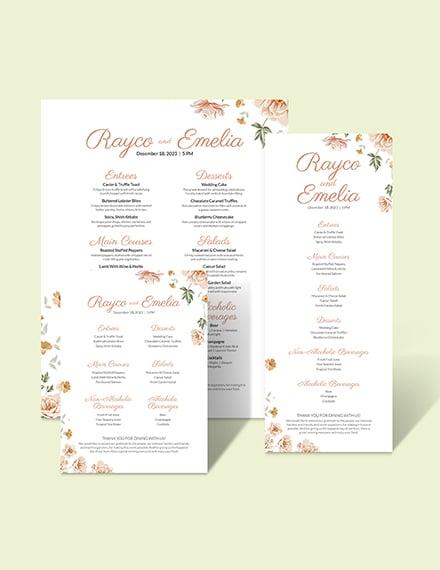 Floral Wedding Menu Download