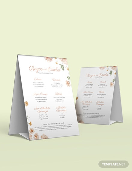 Sample Floral Wedding Menu