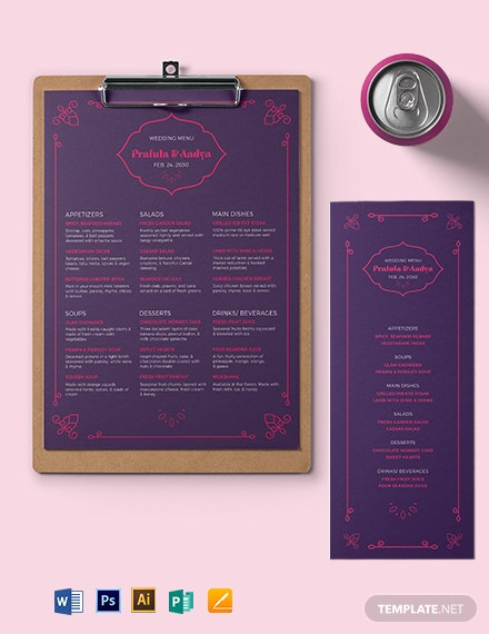 Hindu Wedding Menu Template