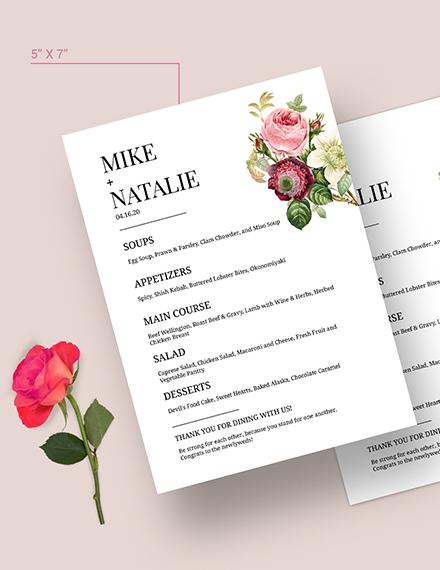 Modern Wedding Menu Download