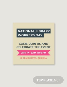 Free National Library Workers Day Tumblr Profile Photo Template