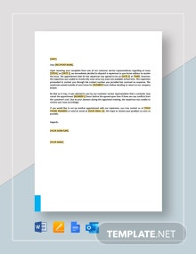 Letter to Customer Not Home for Service Appointment Template