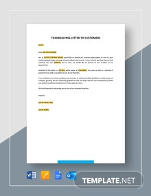 Thanksgiving Letter to Customers Template