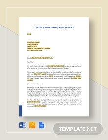 Letter Announcing New Service Template