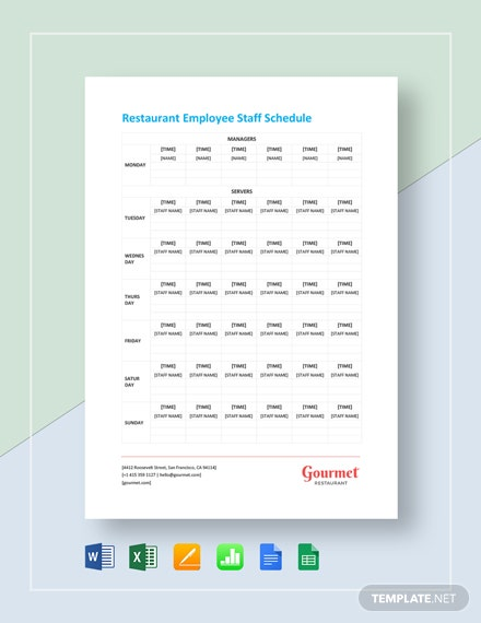 Restaurant Employee Staff Schedule