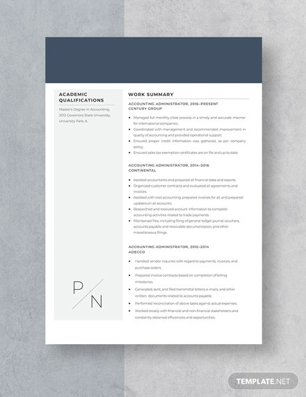 Accounting Administrator Resume Template