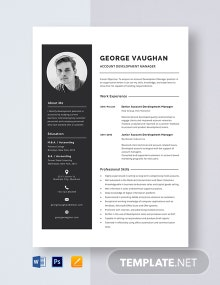 Account Development Manager Resume Template