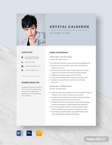 Account Clerk Resume Template