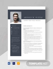 Aircraft Sheet Metal Mechanic Resume Template