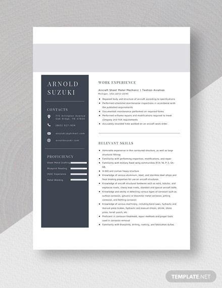 Aircraft Sheet Metal Mechanic Resume Template Word Apple