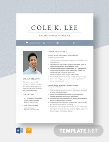 Aircraft Service Technician Resume Template
