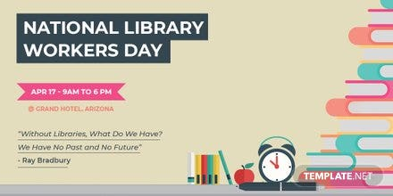 Free National Library Worker's Day Twitter Post Template