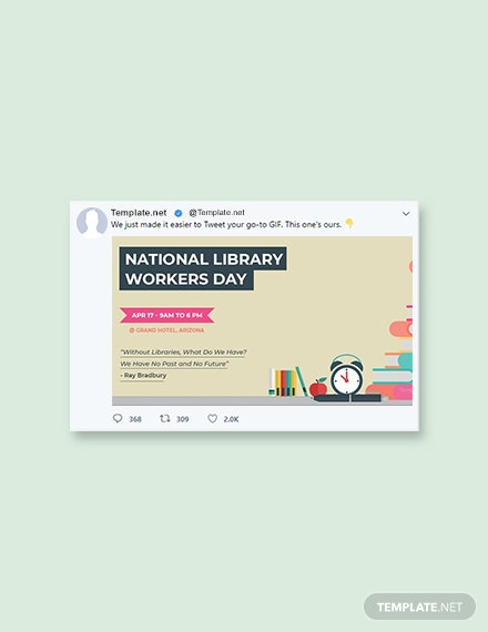 Free National Library Workers Day Twitter Post Template