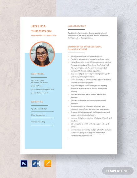 Administrative Director Resume Template