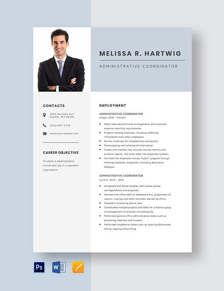 Administrative Coordinator Resume Template