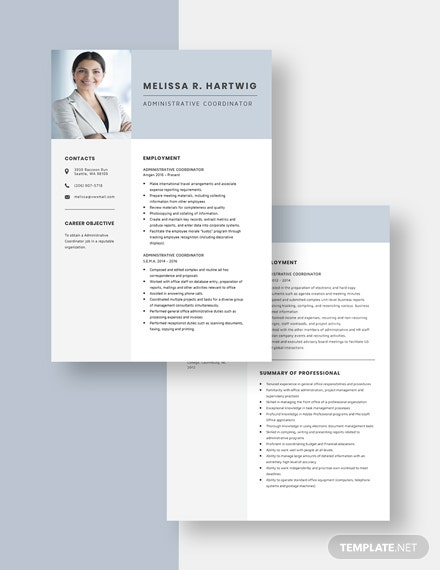 Administrative Coordinator Resume Download