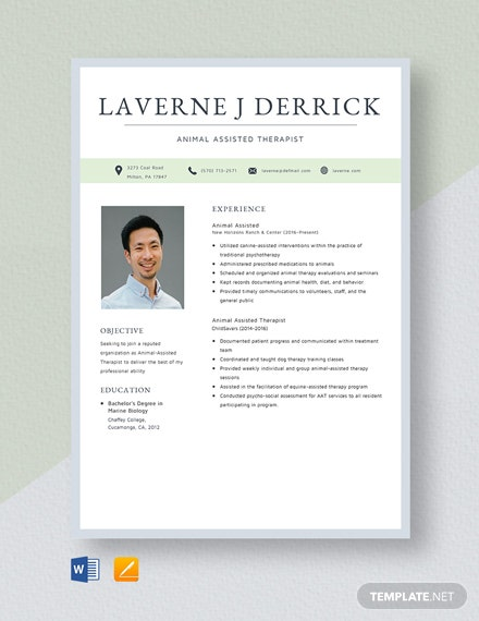 Animal Assisted Therapist Resume Template