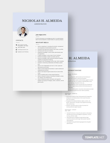 Administration Resume Download