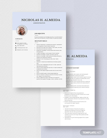 Administration Resume Template