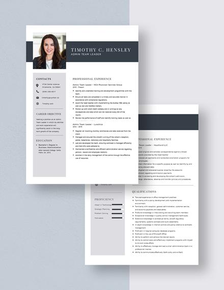 Admin Team Leader Resume Download