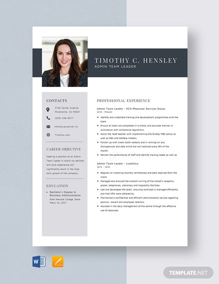 Admin Team Leader Resume Template
