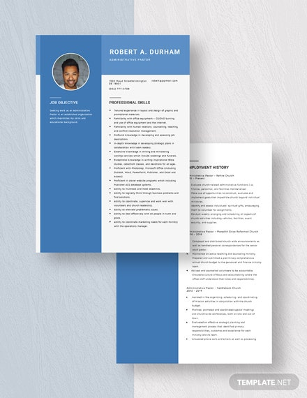 Administrative Pastor Resume Download