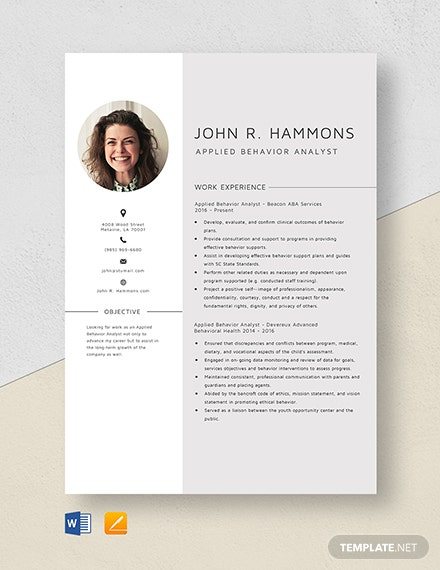 Applied Behavior Analyst Resume Template