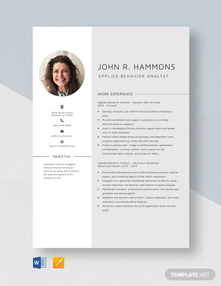 Applied Behavior Analyst Resume Template