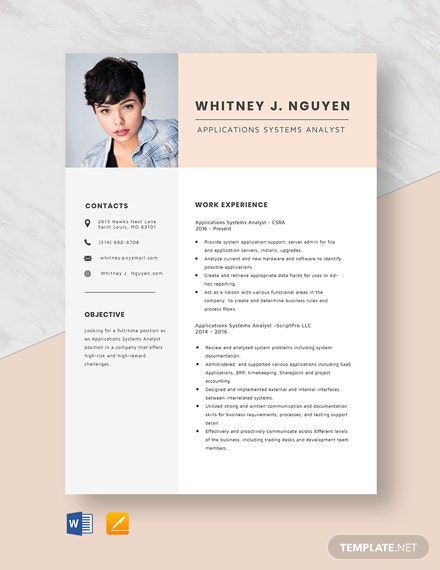 Applications Systems Analyst Resume Template