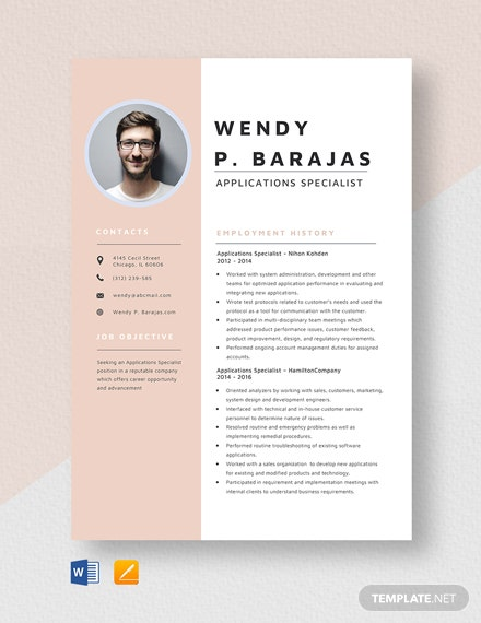 Applications Specialist Resume Template